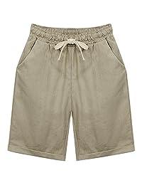 Les umes Drawstring Casual Linen Cotton Bermuda Beach Shorts for Women Girls