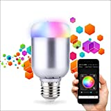 NOVAGO App-enabled Bluetooth wireless 4.0 RGBW energy efficient Smart LED light Bulb, 550LM 6W White + 6W RGB, with unique & elegant design and high quality materials and components. Dimmable Multicolored 16 Millions Color Changing, with Multiple / Group control up to 6 bulbs at the same time. Work with iPhone 6, iPhone 6 plus, iPhone 5/5S/5C, iPad air, ipad air 2, iPad 4/3, iPad Mini……all Apple devices with IOS 7.0 or above; Android 4.3 or above