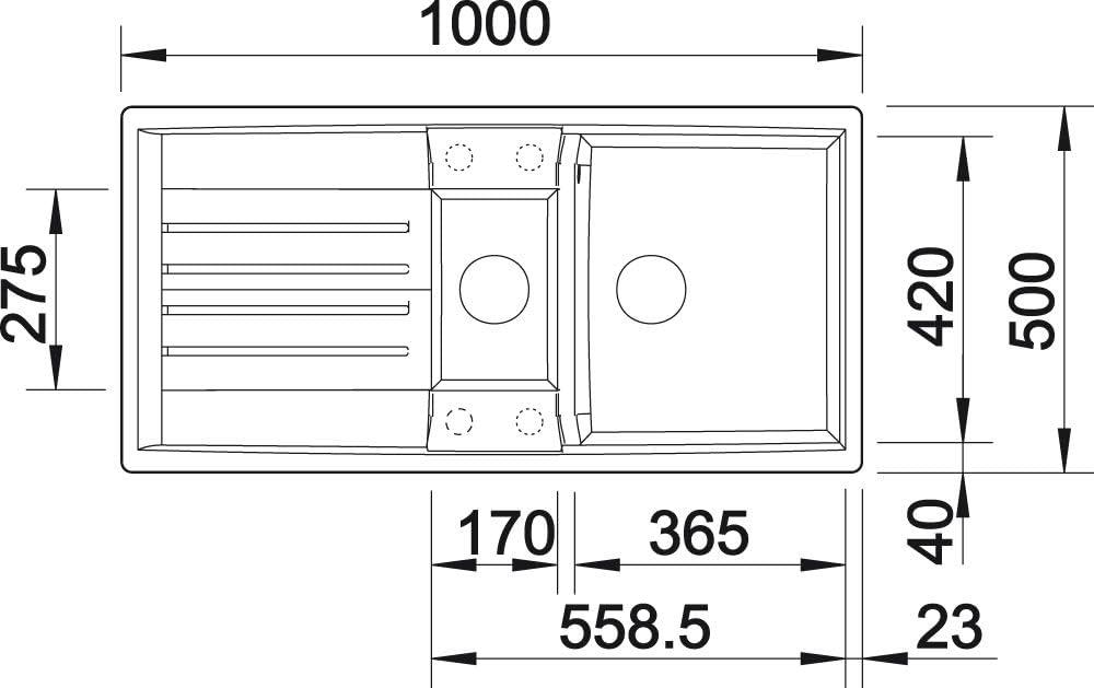80 cm Unterschrank Blanco 524971 Lexa 8 S K/üchensp/üle felsgrau