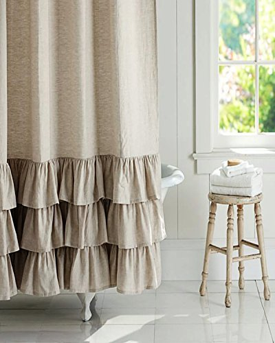BU Natural Organic Linen Frilled bordered 72'' square button holed Fabric shower curtain