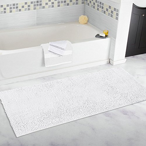 Mayshine 27.5x47 inch Non-slip Bathroom Rug runner Shag Shower Mat Machine-washable Bath mats with Water Absorbent Soft Microfibers of - White - Bathroom Rectangular Rugs Carpets