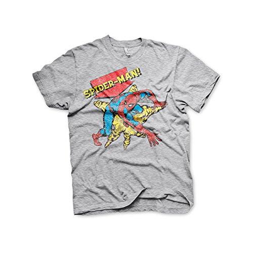 Marvel+Comics+Retro+Shirt Products : Spiderman T Shirt Retro Spider-Man Official Marvel Comics Mens Grey
