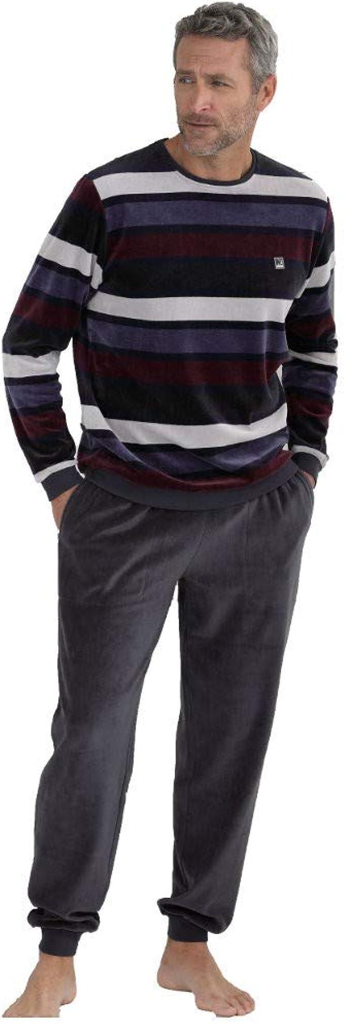 Massana Pijama de Hombre de Terciopelo P701307 - Carbon, L