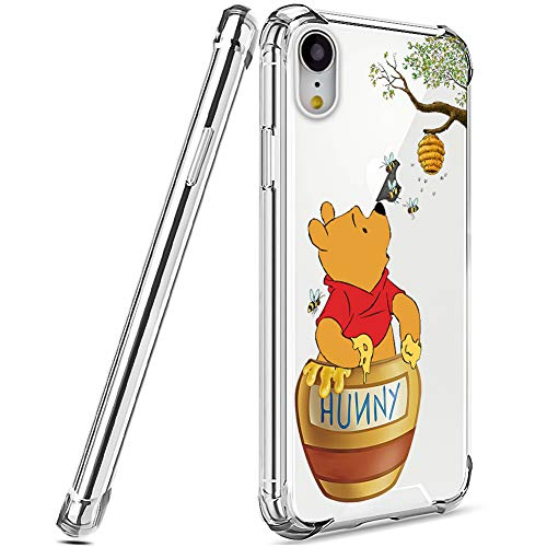 DISNEY COLLECTION Designed for iPhone XR Case 6.1 Inch (2018) Winnie The Pooh [Shock-Absorbing] [Scratch-Resistant] [Military Grade Protection] Hard PC + Flexible TPU Frame Transparent Cover Case
