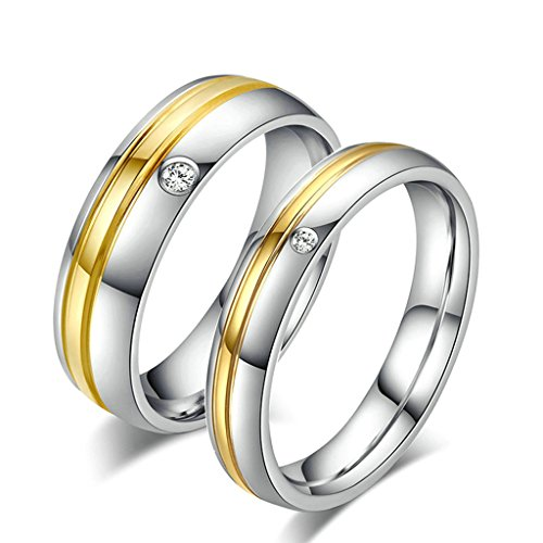 Beydodo Stainless Steel Rings (Wedding Bands) For Men,Single Cubic Zirconia Stripe Silver Gold Size 10 - Florentine 10 Light Single