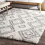 nuLOOM Soft and Plush Iola Moroccan Shag Rug, 5' 3' x 7' 6', White