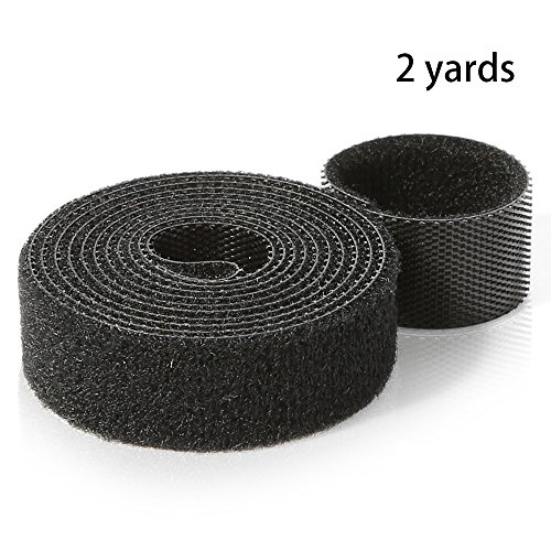 Nylon Hook and Loop Straps, Cable Management Self-Adhesive Ties, Reusable Wire Fastener, Self-Gripping Cord Wrap, One Roll - 0.6 inch Width, 2 yard Length - Hook and Loop Tape Black