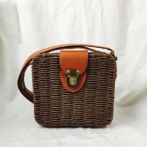 Bolsos Duraderos De RatáN Mujeres Weave Crossbody Bag DiseñAdor De Bolsa De Playa Sac Paille Bolso Mimbre Shoulder Bag Forma Cuadrada Green coyote brown