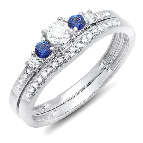 18K White Gold Blue Sapphire And White Diamond Engagement Ring Set (Size 7) (Bridal Sets White Gold Blue)
