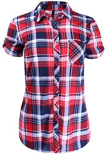 Short Sleeve Plaid Button Down Shirt Knit Top Navy Red L Size