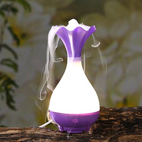 AnkongUnique Romantic Portable 95ml Magic Bottle USB Ultrasonic Aromatherapy Humidifier Essential Oil Aroma Diffuser with LED Night Light (Purple)