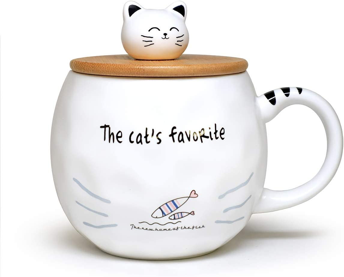 Cute Cat Mug Ceramic Mug with Spoon and Wood Lid Cute Design Fine Porcelain Cups Perfect For Coffee, Tea and Beverage