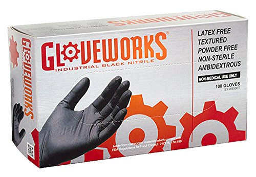 AMMEX - BINPF44100-BX - Industrial Nitrile Gloves - Gloveworks - Disposable, Powder Free, 5 mil, Medium, Black (Box of 100) - Industrial Box