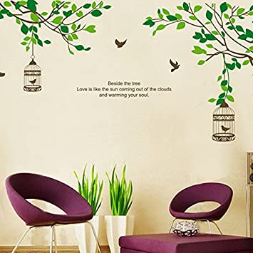 Asmi Collections Wall Stickers Wall Decals Tree Branches Birds Cage   JM7128 Part 79