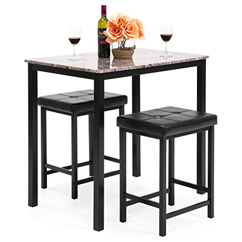 (Best Choice Products Kitchen Marble Table Dining Set w/ 2 Counter Height Stools (Brown))
