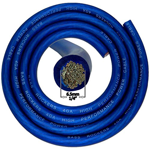 Bass Rockers 4 Gauge AWG 20ft Flexible Power Ground Cable Blue Coating