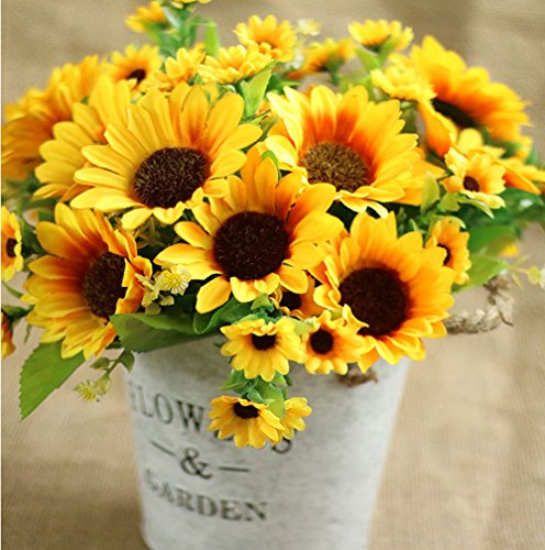 Lannu Pack of 2 Artificial Sunflowers Bouquet Silk flowers 7 Heads Fake Flower for Home Wedding Bride Holding Flowers Party Floral Decor