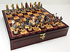 "Trojan War Battle of Troy Spartan Greek Mythology Chess Set W/ High Gloss Cherry & Burlwood Color Storage Board 17"""