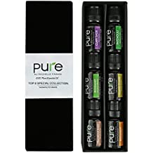 Top Aromatherapy Premium Essential Oils! 6 Pc Gift-set Specialty Collection of Clary Sage, Patchouli, Rosemary, Ylang, Ylang, Bergamot & Frankincense by Pure (10ML) Great Holiday Gift Idea!