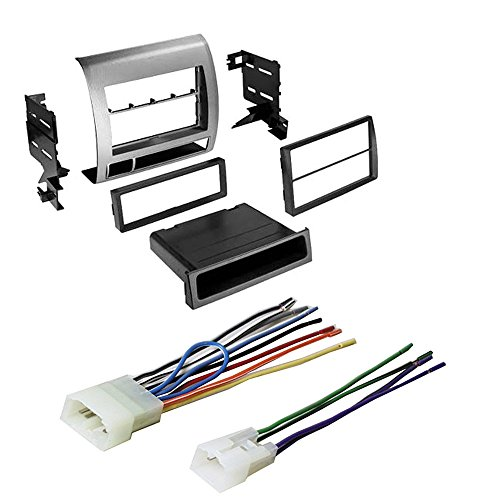 Amplifier Kit Installation Silver (Toyota Tacoma Double Din Ear Stereo Radio Installation Dash Mount Kit W/Harness)