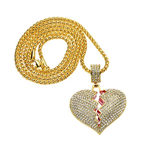 Broken Heart Chain Charm Pendant Hip Hop Iced Out Jewelry Long Necklaces for Men Women(Gold)