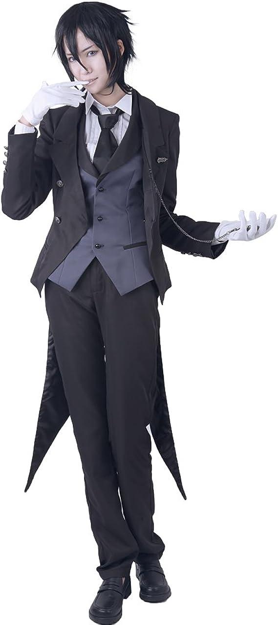 Miccostumes Disfraz de Butler Sebastian Michaelis para hombre ...