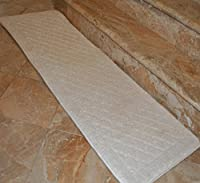 Single Piece Luxurious Foam Bath White Runner, Mate, Non-Skidding Latex, Rug, Non-Reversible, Geometric And Solid Color Pattern, Simple Elegance Design, Memory Foam And Polyester Material, Ivory