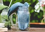 Eat Drink Be Married Pub Pint Glass, 16 Ounce Mason Jar Mug Personalized in Silver, Mason Jar Mug Anniversary Wedding Favor - 48 Count