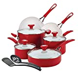 Aluminum Shatter Resistant 12-Piece Ceramic Nonstick Red Cookware Set