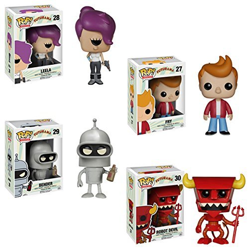 Futurama Bender Fry Leela Robot Devil Pop! Vinyl Figures Set of 4