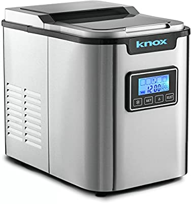 Knox Stainless Steel Ice Maker - Makes 27 Pounds per Day - 3 Different Ice Cube Sizes