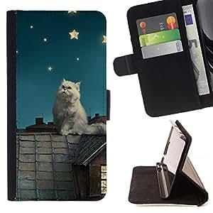 Momo Phone Case / Flip Funda de Cuero Case Cover - Gato blanco Estrellas;;;;;;;; - Samsung Galaxy S6 Edge Plus / S6 Edge+ G928