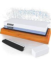 Whetstone Knife Sharpening Stone kit, Double Side Whetstone Sharpener 1000 6000 with Non-Slip Bamboo Base, Flattening Stone and Angle Guide for Chef Knife, Kitchen Knife, Hunting Knife
