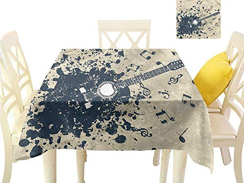 Davishouse Elegant Waterproof Spillproof Polyester Fabric Table Cover Acoustic Guitar Notes Great for Buffet Table W50 x L50