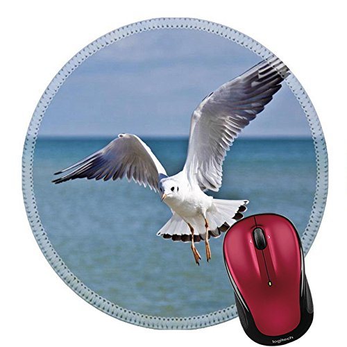 Liili Mouse Pad Natural Rubber Round Mousepad Seagull on the water surface background with wings spread open Image ID - Logo Mew