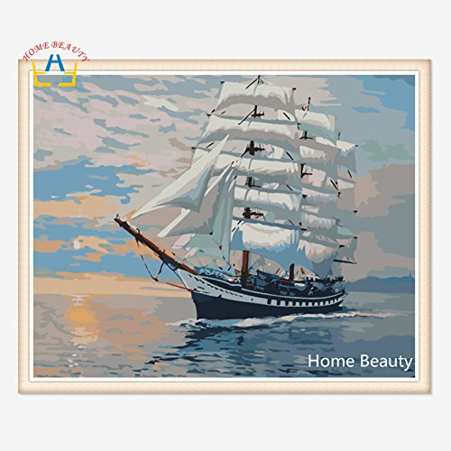 HOME BEAUTY 1620Inch Ship Picture Paint On Canvas Diy Digital Oil Painting By Numbers