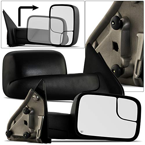 MAPM - Towing Mirror 55077444AO For 02-08 Dodge Ram 1500 03-09 Dodge Ram 2500 3500 Pickup Truck Power Heated Tow Folding Side View Black Mirror Right Passenger - CH1321228
