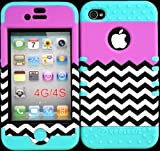 Bumper Case for Iphone 4 4s Purple Block Chevron Design Hard Plastic Snap on Baby Teal Silicone Gel