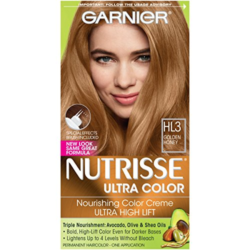 (Garnier Nutrisse Ultra Color Nourishing Permanent Hair Color Cream, HL3 Golden Honey (1 Kit) Blonde Hair Dye (Packaging May Vary))