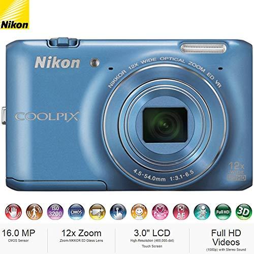 - Nikon COOLPIX S6400 16 MP 12x Zoom Digital Camera Blue (26364B) – (Certified Refurbished)