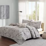 Madison Park Pure Ronan King/Cal King Size Quilt Bedding Set - Grey, Paisley – 4 Piece Bedding Quilt Coverlets – 100% Cotton Bed Quilts Quilted Coverlet