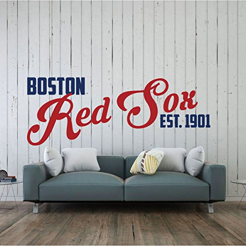Red Sox Wall Decal - Boston Baseball Decorations - Sports Team Athlete Bedroom Decor - Vinyl Wall Decal - MLB Wall Decals for Bedrooms, Playroom , Dorm or Home - (Caveman Decorations)