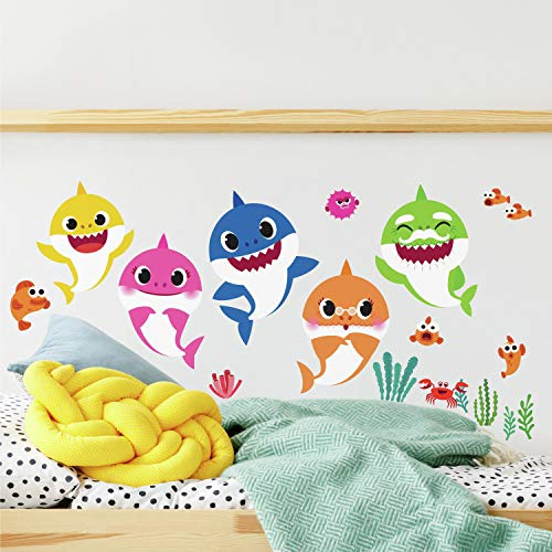 RoomMates Baby Shark Peel And Stick Wall Decals | Kids Room Decor