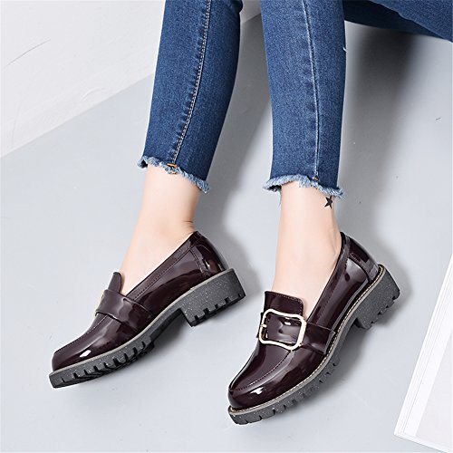 LANSHULAN Womens Juniors Spring Slip On Oxfords Shoes Flats Plus Size 34-42 Wine Red 35wmBjuW98