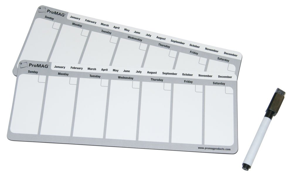 ProMAG 4.25 x 11 Inches Weekly Dry Erase Magnetic Calendar Magnum Magnetics-Corporation AFG-20024-PGY
