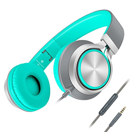Headphones,AILIHEN C8 Lightweight Foldable Headphone with Microphone Mic and Volume Control for iPhone,iPad,iPod,Android Smartphones,PC,Laptop,Mac,Tablet,Headphone Headset for Music Gaming(Grey/Mint)