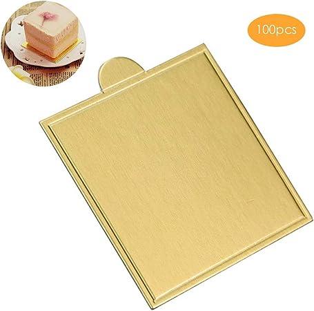 Einsgut Platos de Pastel, Caja de Pastel desechable, Tablero, Accesorios para Hornear, Almohadillas de Pastel de cartón Dorado: Amazon.es: Hogar