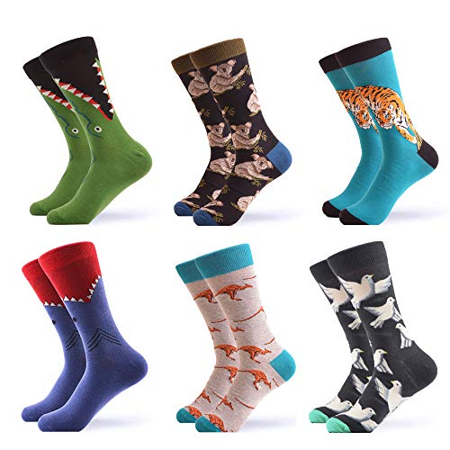 WeciBor Men's Dress Cool Colorful Fancy Novelty Funny Casual Combed Cotton Crew Socks Pack (057-30)]()