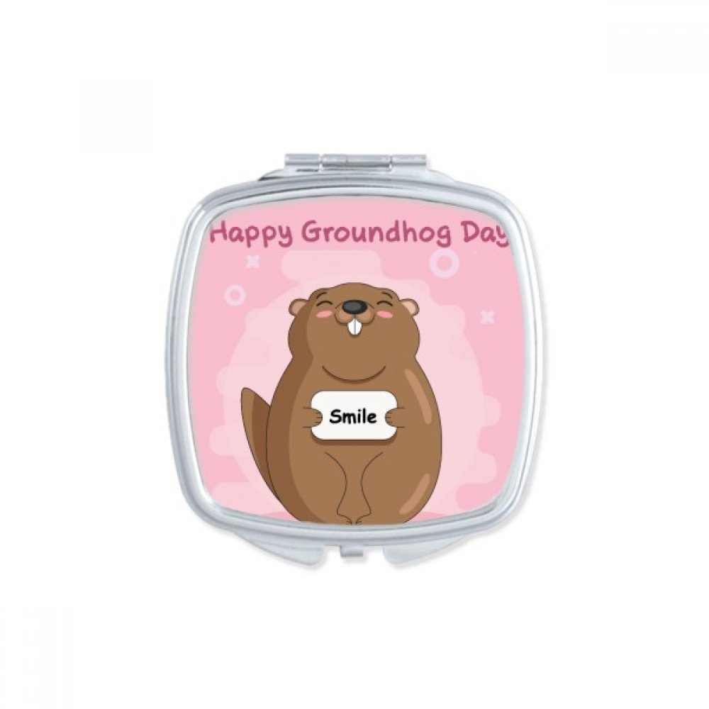 Happy Groundhog Day USA America Canada Festival Square Compact Makeup Pocket Mirror Portable Cute Small Hand Mirrors Gift