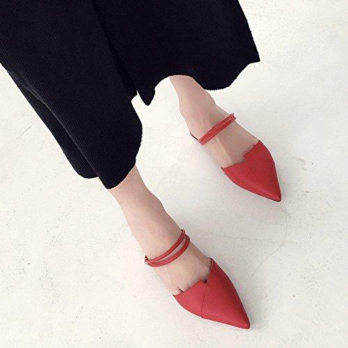 rosso e Donna inferiore superiore Baotou 4cm Alla pantofole Moda punta 38 Sandali Da AJUNR di PqE87